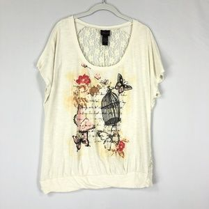 Torrid 0 Womens Top Size Large Floral Butterfly